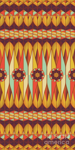 Tribal Digital Art - Colorful Ethnic Pattern by Gaspar Avila