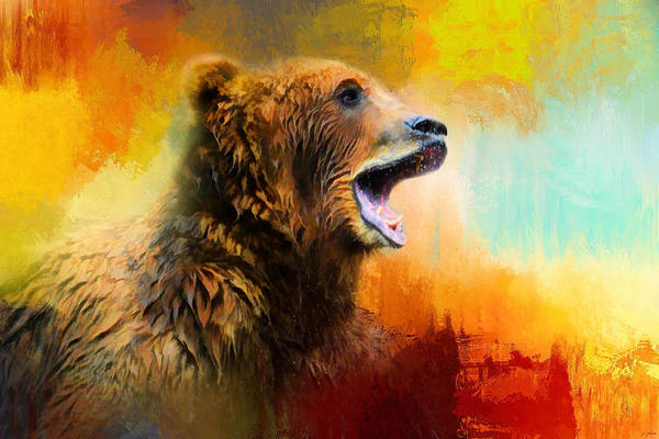 Photograph - Colorful Expressions Grizzly Bear 2 by Jai Johnson
