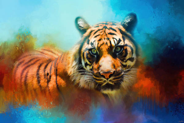 Photograph - Colorful Expressions Tiger 2 by Jai Johnson