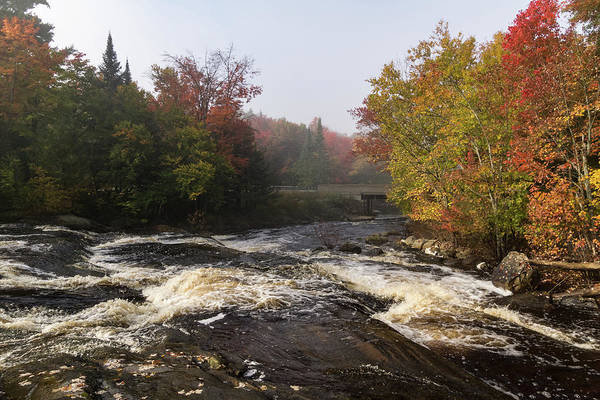 Photograph - Colorful Fall - A River Rushing In The Soft Morning Mist by Georgia Mizuleva