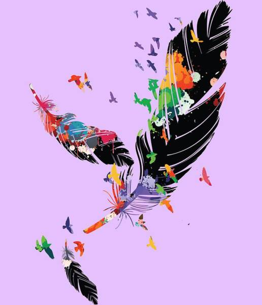 Boho Chic Drawing - Colorful Feathers by Cindy Shim