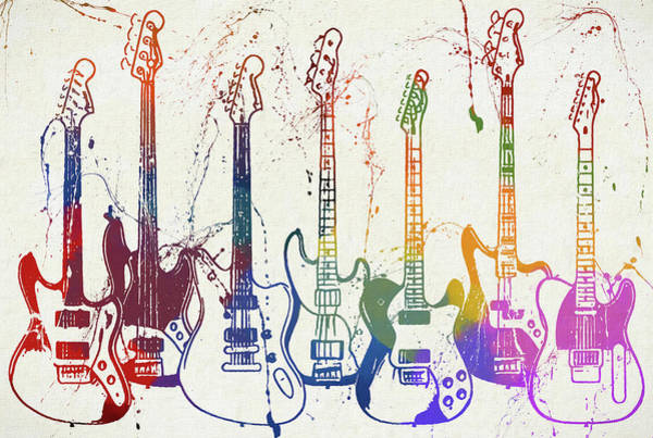 Painting - Colorful Fender Guitars Paint Splatter by Dan Sproul