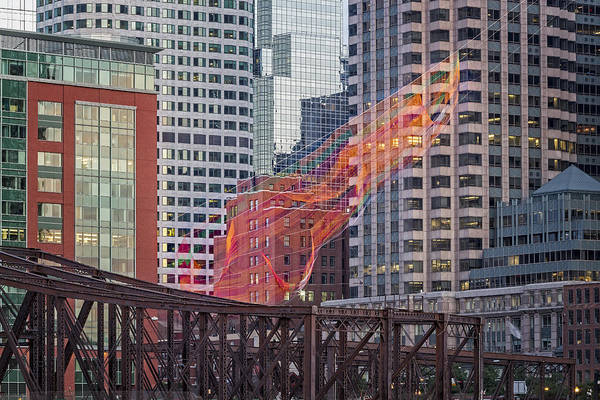 Photograph - Colorful Fibers Over The Boston Skyline by Susan Candelario