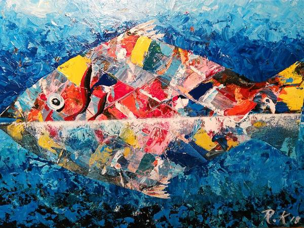 Painting - Colorful Fish by Ray Khalife