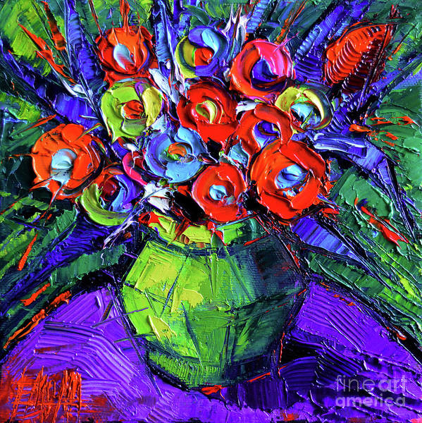 Post Modern Painting - Colorful Flowers On Round Purple Table by Mona Edulesco
