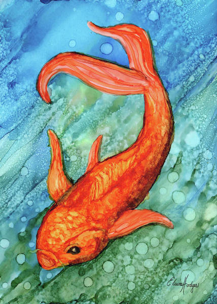Wall Art - Painting - Colorful Goldfish by Elaine Hodges