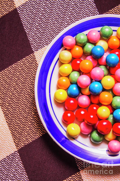 Chewing Wall Art - Photograph - Colorful Gumballs On Plate by Jorgo Photography - Wall Art Gallery