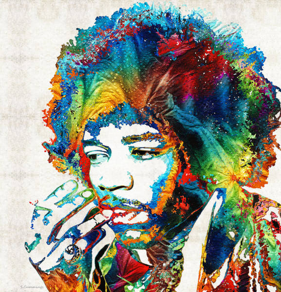 Painting - Colorful Haze - Jimi Hendrix Tribute by Sharon Cummings