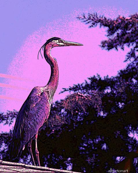 Colorful Heron Art Print