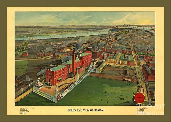 Wall Art - Painting - Colorful Historic Aerial Map Of Boston by Pd
