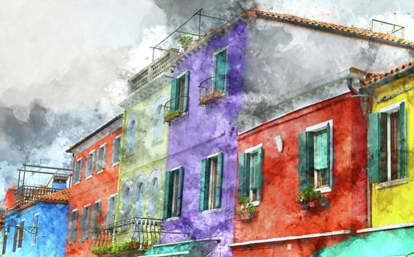 Photograph - Colorful Homes In Burano Island Venice Italy by Brandon Bourdages
