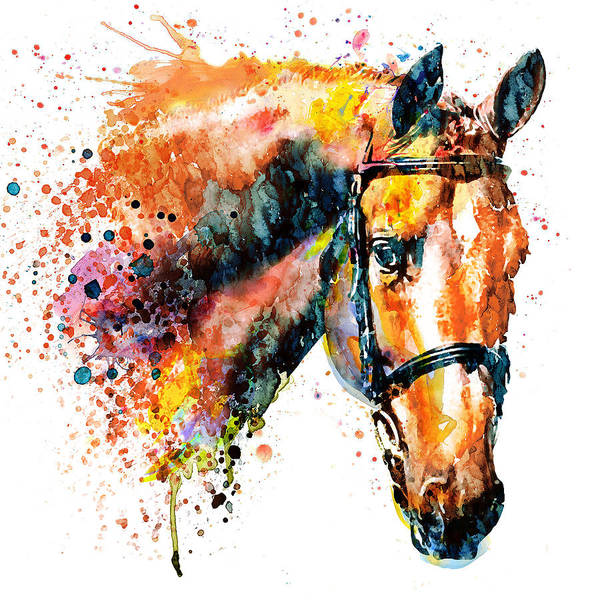 White Horse Head Wall Art - Painting - Colorful Horse Head by Marian Voicu