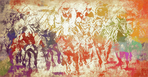 Purebred Mixed Media - Colorful Horse Jockeys Racing by Dan Sproul