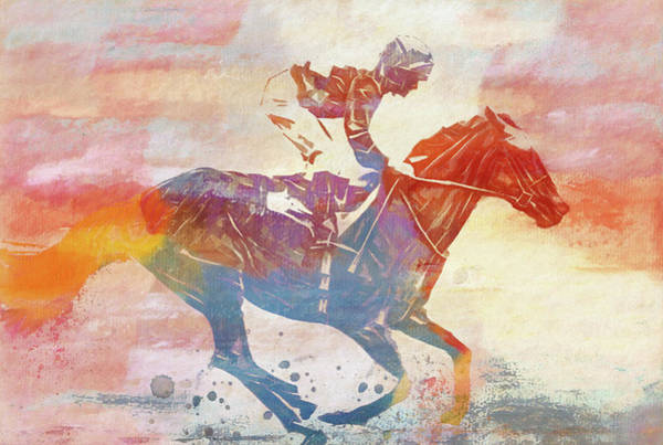 Purebred Mixed Media - Colorful Horse Race by Dan Sproul