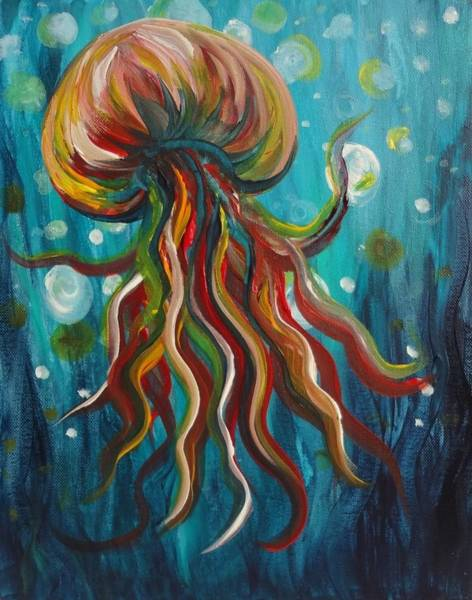 Painting - Colorful Jellyfish by Michelle Pier