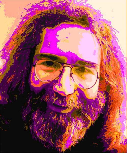 Progressive Rock Painting - Colorful Jerry Garcia by Samuel Majcen