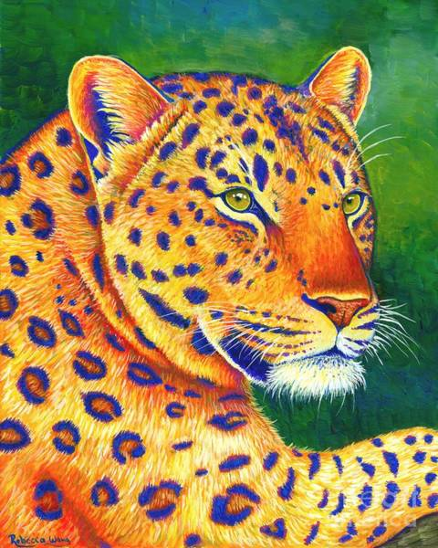 Painting - Colorful Leopard Portrait by Rebecca Wang