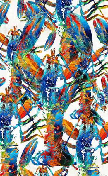 Painting - Colorful Lobster Collage Art - Sharon Cummings by Sharon Cummings