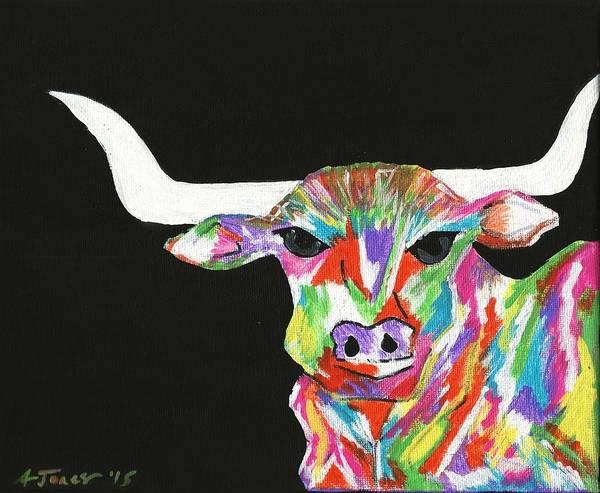 Longhorn Painting - Colorful Longhorn by Ashley Jenkins-Jones