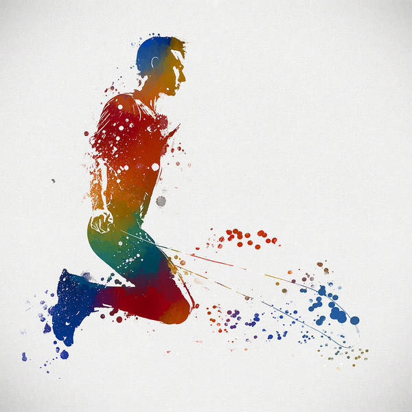 Skipping Painting - Colorful Man Jumping Rope by Dan Sproul