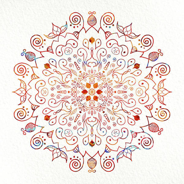Shower Curtain Digital Art - Colorful Mandala On Watercolor Paper by Patricia Lintner