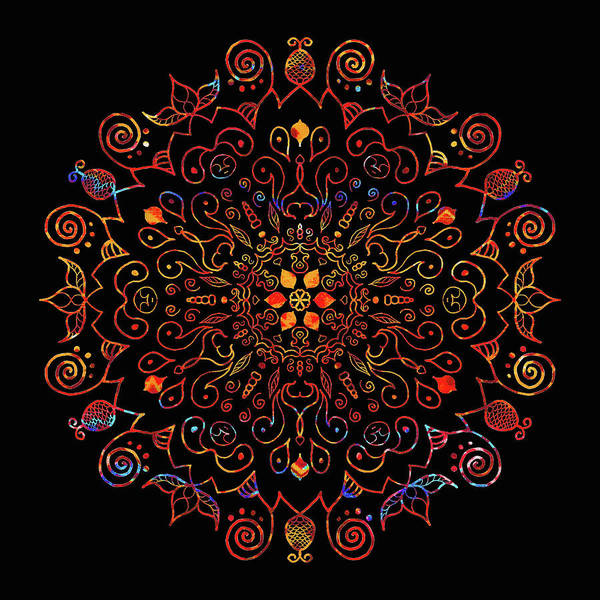 Digital Art - Colorful Mandala With Black by Patricia Lintner