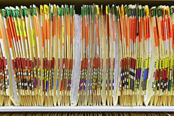 Tab Photograph - Colorful Medical Folders by Skip Nall