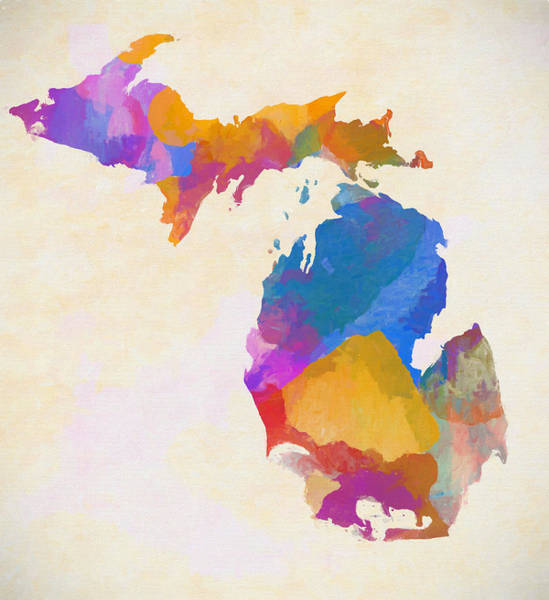 Wall Art - Painting - Colorful Michigan by Dan Sproul