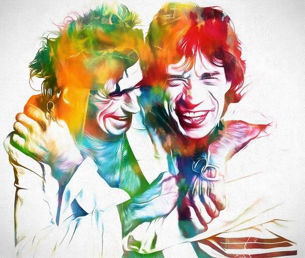 Wall Art - Painting - Colorful Mick And Keith by Dan Sproul