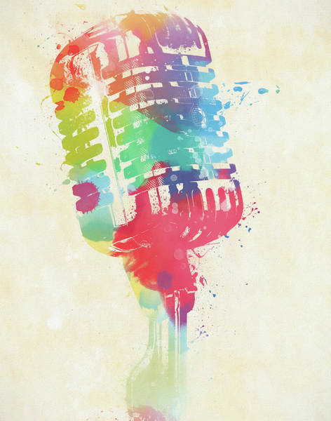 Painting - Colorful Microphone by Dan Sproul