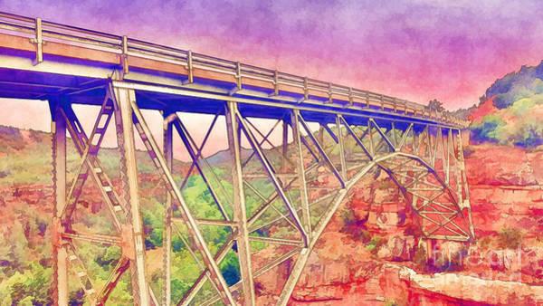 Oak Creek Canyon Painting - Colorful Midgley Bridge  by L Wright
