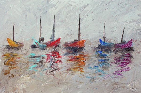 Impressionistic Sailboats Painting - Colorful Modern Impressionistic Sailboat Painting 3 by Ken Figurski