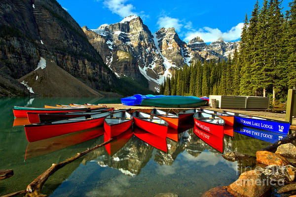 Photograph - Colorful Moraine Lake Canoes by Adam Jewell