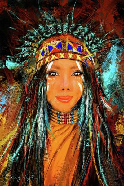 Painting - Colorful Native American Woman by Lourry Legarde