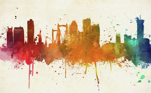 Wall Art - Painting - Colorful New Orleans City Skyline by Dan Sproul