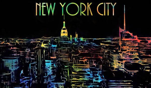 Painting - Colorful New York City Skyline by Dan Sproul