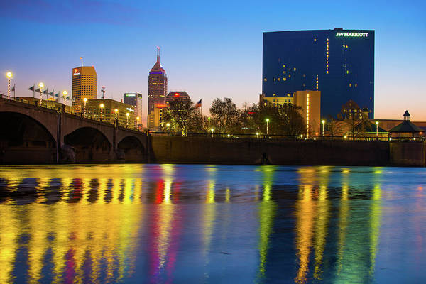 Photograph - Colorful Night Reflections - Indianapolis Indiana Skyline by Gregory Ballos