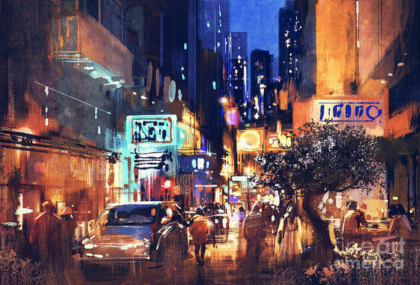 Art Print featuring the painting Colorful Night Street by Tithi Luadthong