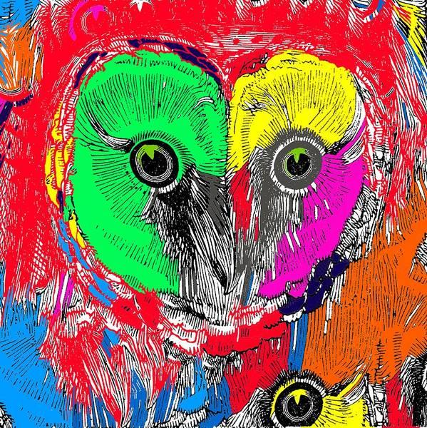 Wall Art - Digital Art - Colorful Owl by Brandi Fitzgerald