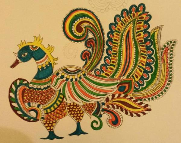 Wall Art - Painting - Colorful Peacock by Jandyam Kiranmayee