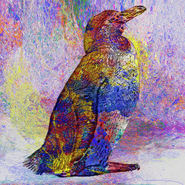 Manipulated Digital Art - Colorful Penguin by Jack Zulli