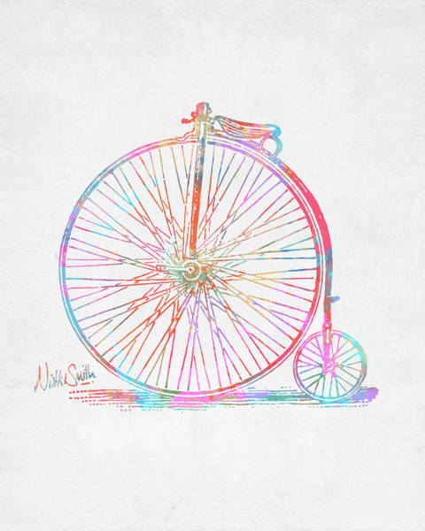 Wall Art - Digital Art - Colorful Penny-farthing 1867 High Wheeler Bicycle by Nikki Marie Smith