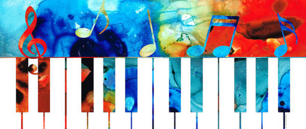 Grand Piano Painting - Colorful Piano Art By Sharon Cummings by Sharon Cummings