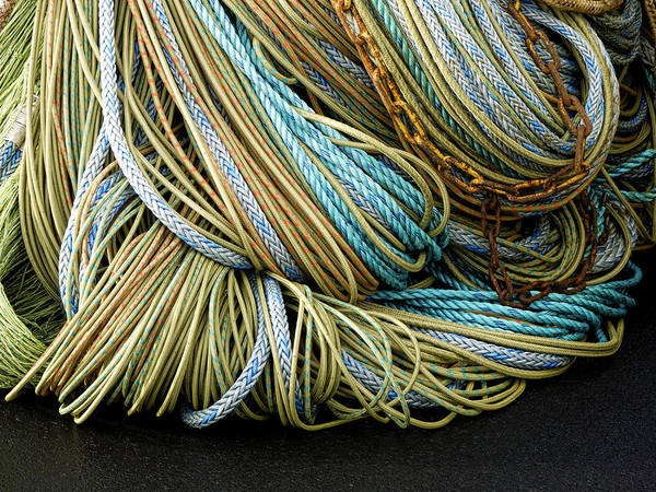 Commercial Photograph - Colorful Pile Of Fishing Nets And Ropes by Carol Leigh