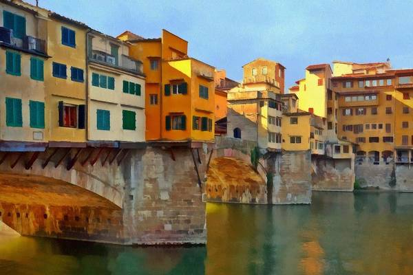 Digital Art - Colorful Ponte Vecchio by Patricia Strand