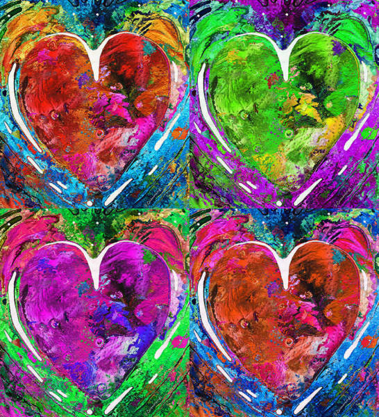 Painting - Colorful Pop Hearts Love Art By Sharon Cummings by Sharon Cummings