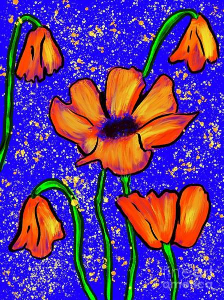 Essence Digital Art - Colorful Flower- Poppies by Laurie's Intuitive