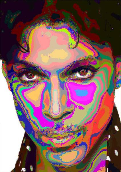 Prince Rogers Nelson Wall Art - Painting - Colorful Prince by Samuel Majcen