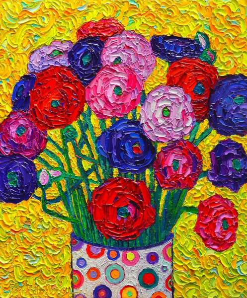 Wall Art - Painting - Colorful Ranunculus Flowers In Polka Dots Vase Palette Knife Oil Painting By Ana Maria Edulescu by Ana Maria Edulescu