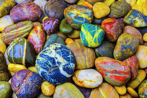 Hard Rock Photograph - Colorful River Stones by Garry Gay